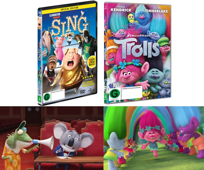 Win a DVD pack including a copy of Trolls and Sing