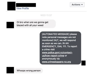 NZ Police give funny response to accidental social media message
