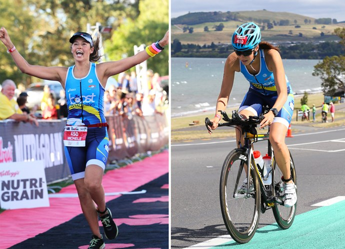 She legs it to victory! Supported by her loved ones, Michele overcame adversity to complete the Ironman challenge.