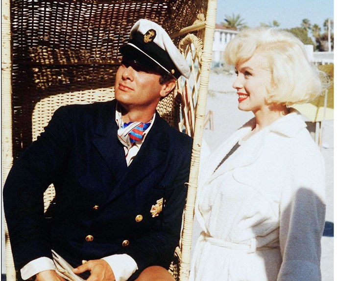"**Marilyn Monroe & Tony Curtis in *Some Like it Hot*** Although the pair were once lovers, Tony even went so far as to describe his love scenes with Marilyn as ""like kissing Hitler""!"