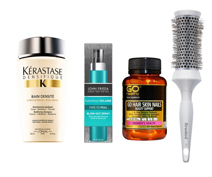 Your thicker hair kit: Kérastase Densifique Bain Densite Shampoo, $43, John Frieda Luxurious Volume Fine to Full Blow-out Spray, $20.50, Go Healthy Hair Skin Nails Beauty Support, $29.90 and Beauty Dust Co. Round Styling Brush with Ceramic Ion Barrel, $59.95.
