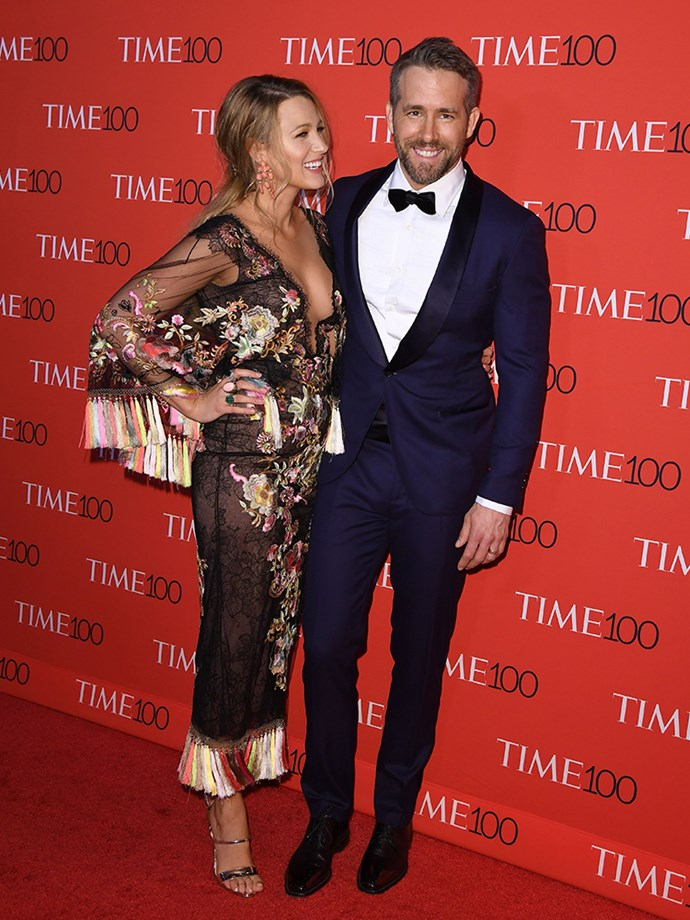 Blake Lively wore a chantilly-lace Marchessa gown for date night with Ryan Reynolds, which also happened to be the Time 100 Gala night.