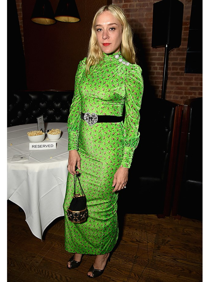 Actor-director Chloë Sevigny  managed to pull off a Kermit green, velvet dress by Alessandra Rich at Tribeca with a mix of eclectic accessories.