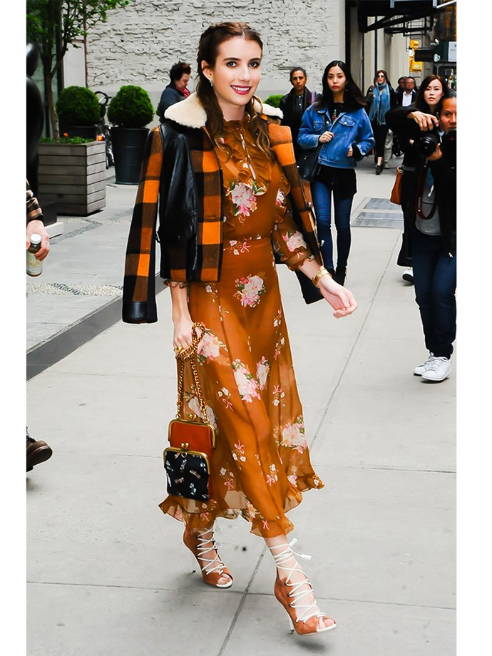 *Scream Queen* actor Emma Roberts stepped out in a Coach outfit that was just the right mix of vintage and contemporary design.