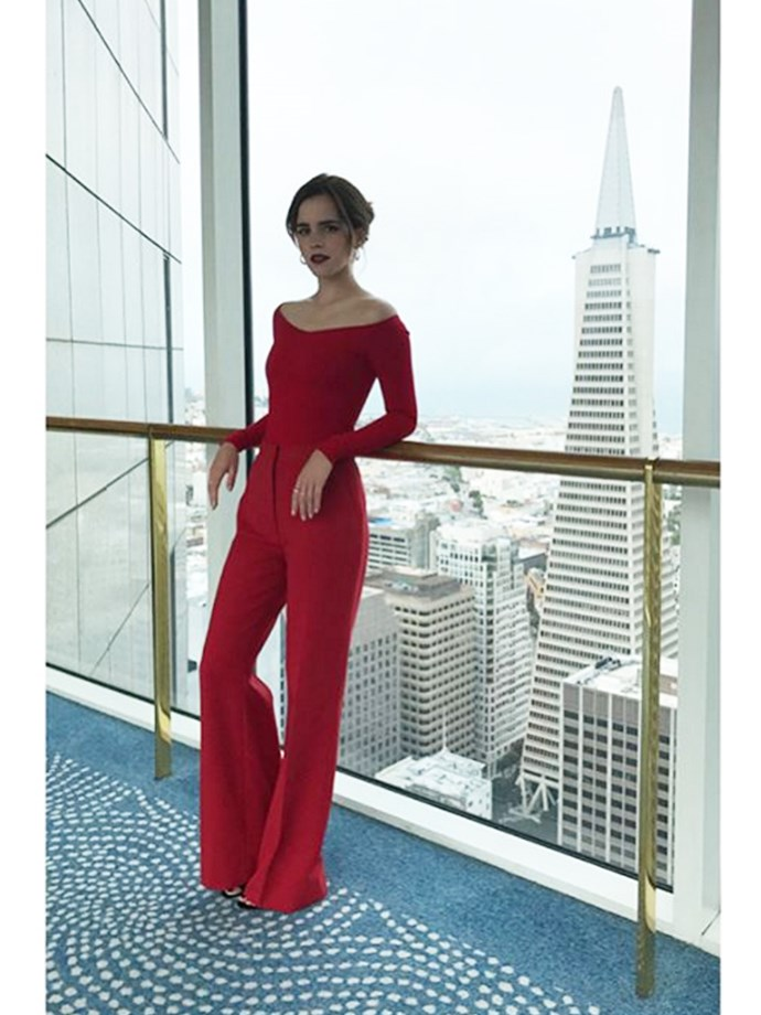 Lady in red Emma Watson wore a powerful fashion statement by Italian designer Gabriela Hearst while visiting Twitter headquarters this week.