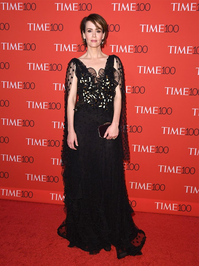 Sarah Paulson stood tall in this hand-embroidered tulle and lace gown off the Rodarte runway this week.