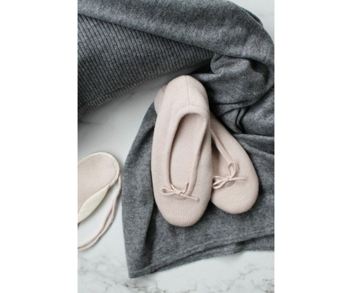 Cashmere slippers, $129, [Elle + Riley.](https://www.elleandriley.com/collections/sleepwear/products/copy-of-cashmere-slippers-black?variant=28683075079)