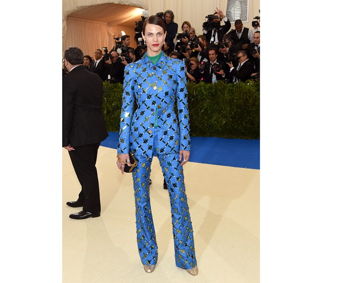 """**Naomi Larkin, editor: Aymeline Valade in Marni.** """"Great cut, great colour and the sparkle is a nod to the evening event - but I'd leave the green polo neck at home."""""""
