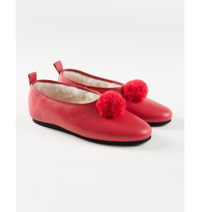 [Slippers, $149, by Five Star Slippers by Minnie Cooper.](http://fivestarslippers.nz/classic-slipper/classic-red-leather-pompom)