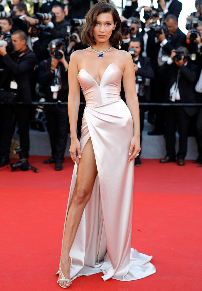 The model wore a silk Alexandre Vauthier gown for the glamorous opening night gala.