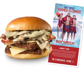Win a double pass to Baywatch and two Wendy's Portabella Swiss Melt combos!