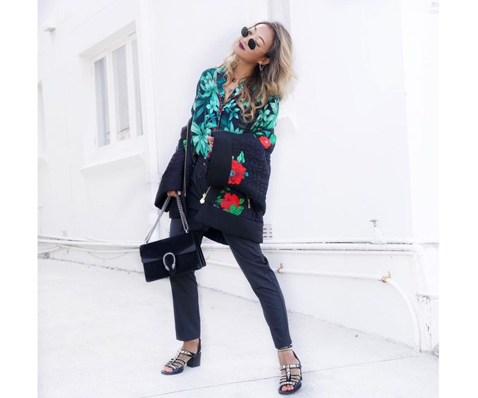 Helen Chik in Zara top, Kenzo x H&M jacket, Grana pants, Gucci bag, Givenchy shoes.