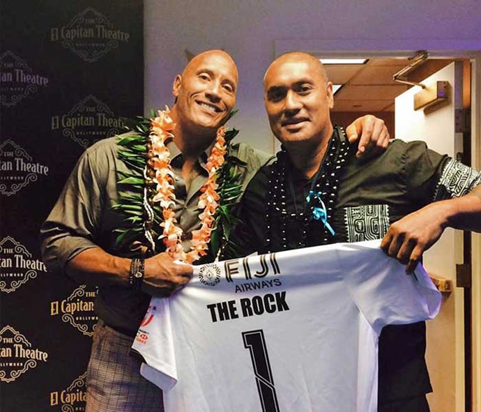 "Igelese with Dwayne ""The Rock"" Johnson."