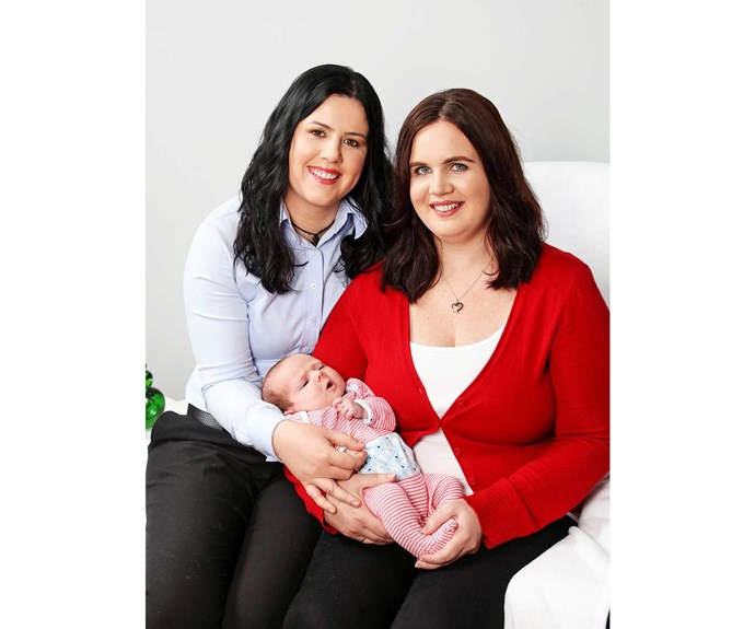 Becs and Leanne with daughter Angie. The determined copper hopes to have  a second child.