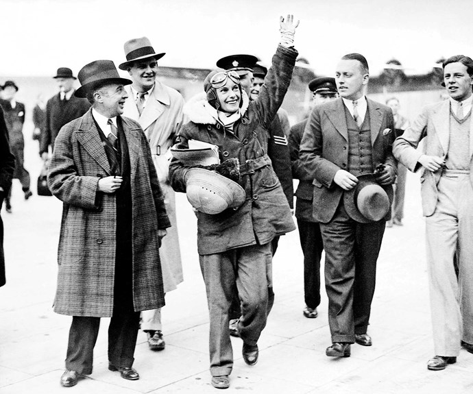 Jean Batten received an enthusiastic welcome at Croydon Airport after her record-breaking flight from Australia.