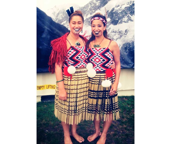With her sister Te Raina at a kapa haka competition.