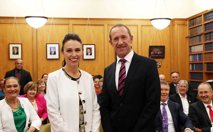 Jacinda, pictured with Andrew Little, at her confirmation as Labour's deputy leader at Parliament.