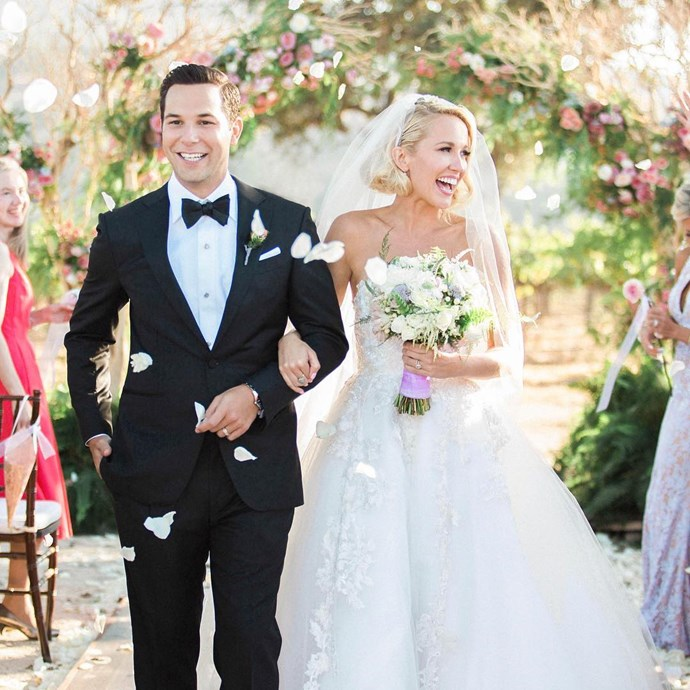 **Anna Camp and Skylar Astin** *Pitch Perfect* co-stars Anna Camp and Skylar Astin's nuptials were a magical affair, with the bride donning a fairytale Reem Acra gown for the big day. Photo: Instagram