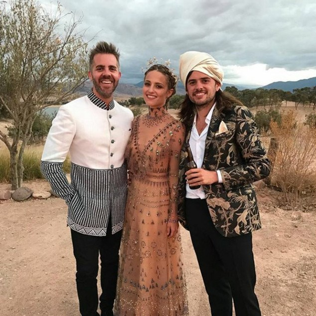 **Dianna Agron and Winston Marshall** *Glee* star Dianna Agron had a high-fashion wedding to beau Winston Marshall (of Mumford & Sons fame). The blonde beauty donned an embroidered Valentino gown for her ceremony in Morocco, then switched to an ethereal Gucci design for more of the weekend's celebrations. Photo: Instagram