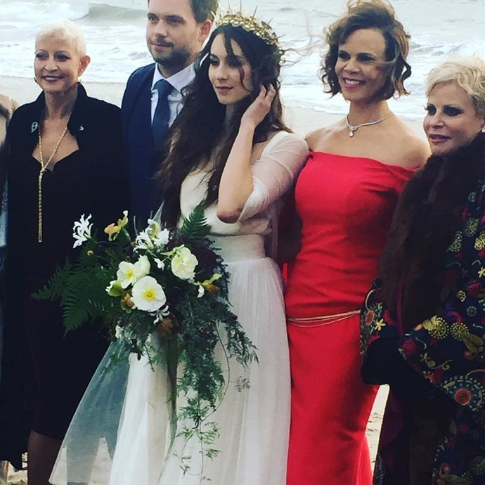 **Troian Bellisario and Patrick J. Adams** *Pretty Little Liars* star Troian Bellisario and *Suits* star Patrick J. Adams tied the knot in a rustic, boho-chic ceremony which saw guests camping in glamorous tents and being driven to the venue by the groom himself in a converted school bus. Photo: Instagram