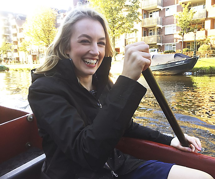 During her trip, Janika was able to watch the university rowing club perform a special haka, and even jumped in for a paddle down the windmill-studded canals of Leiden.