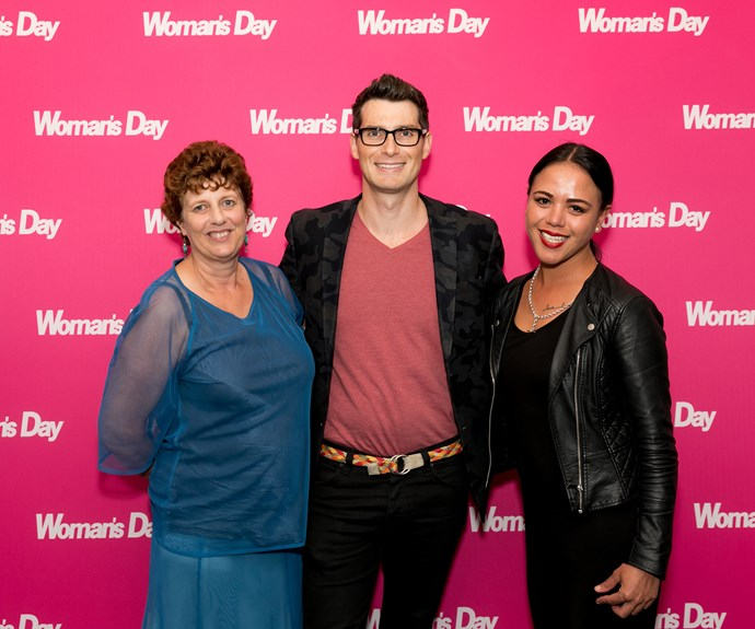 *Woman's Day* winner Junette and her friend Moana with Sam Bunkle