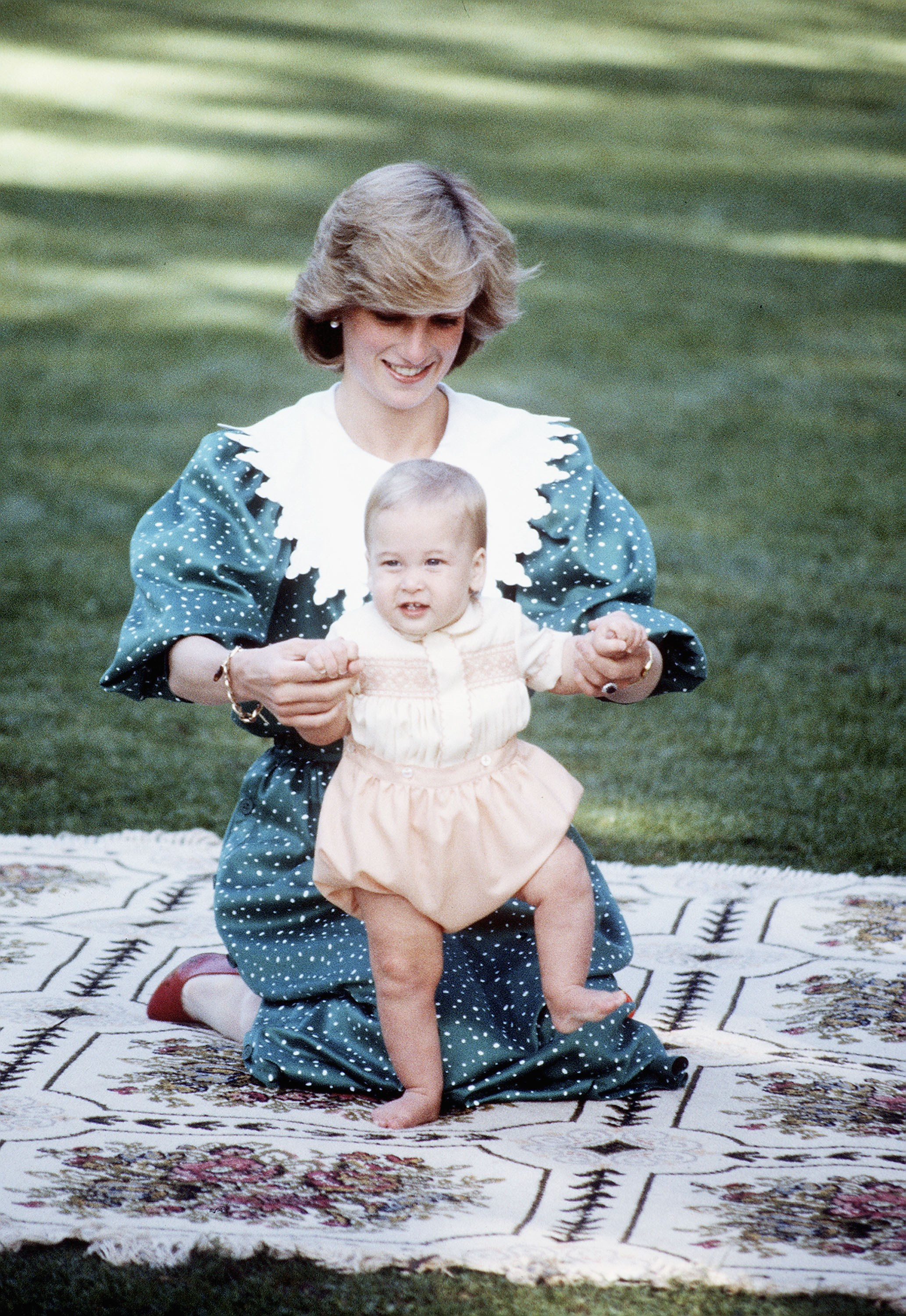 Prince William is seen with his mother the late Princess Diana during their 1983 official visit to New Zealand, in April 1983
