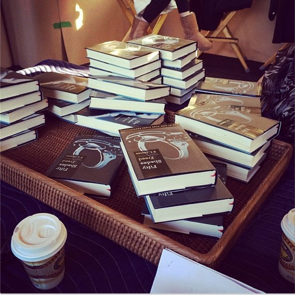 Stacks of the EL James book 50 Shades of Grey. Photograph: Instagram.