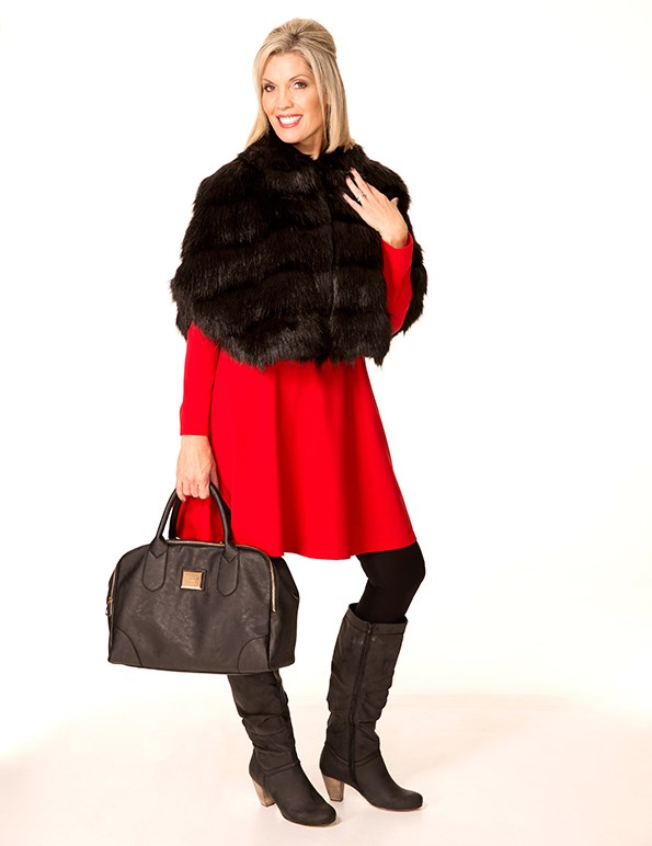 Cape $199 from Unreal Fur. Dress $74.99 from Ezibuy. Handbag $99.99 from Farmers. Boots $59.99 from Number One Shoes.