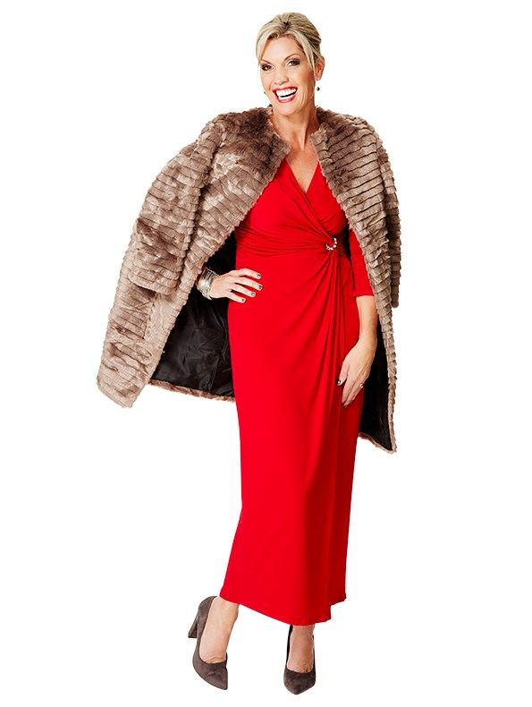 Coat $179.99 and dress $149.99 both from Ezibuy. Bracelets $24.99 from Portmans. Earrings $89 from Cathy Pope.