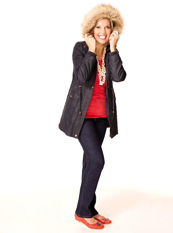 Parka $199 from Max. PJ Jeans $159 from Ballantynes. Necklace $40 and top $40 both from Decjuba. Shoes $159.95 from Farmers.