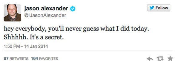 Tweet from Jason Alexander on the day the pair met.