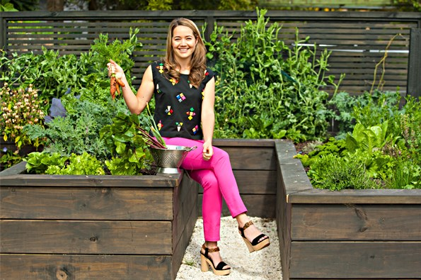 The results of Brad and Rachel\'s backyard project included this thriving vege patch.