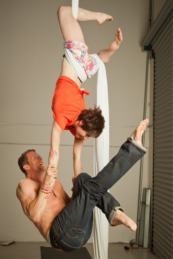 Through their company, The Dust Palace, Mike and Eve perform acrobatic, aerial, cabaret, theatrical and circus acts. Intensely physical, the performances require great skill and peak fitness.