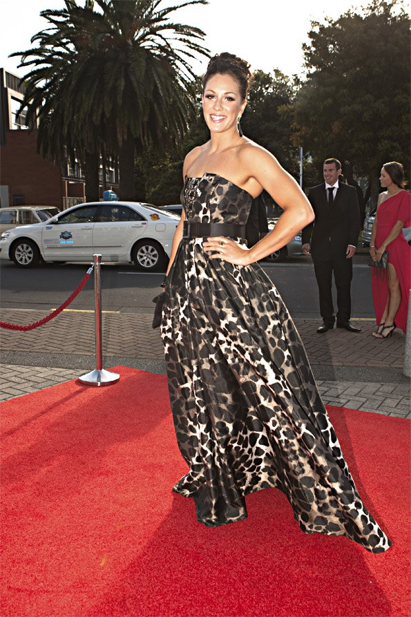 Paralympian Sophie Pascoe stunned the crowd, looking gorgeous in a floor-length leopard print dress.