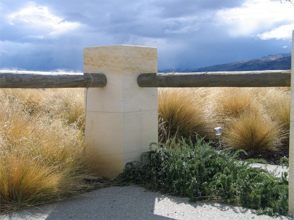 The Mediterranean and Central Otago come together with tussock and rosemary which both do well in the dry.