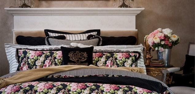 Beautiful boudoir ideas - Trelise Cooper's Rose Jardin design bedspread from EziBuy