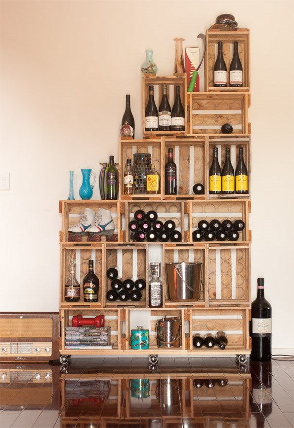 Beer crate shelving is easy to construct and looks amazing