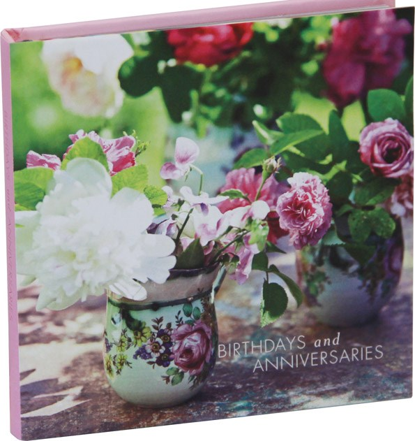 Keep track of important dates with this adorable peonies and roses book, Birthdays and Anniversaries. From Ryland Peters & Small $24.99. From Bookreps