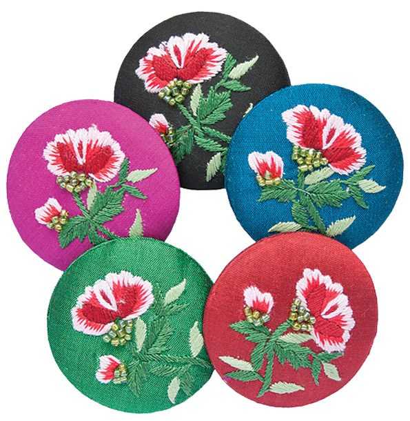 Tamsin Cooper silk taffeta, hand-embroidered button brooches $23.95