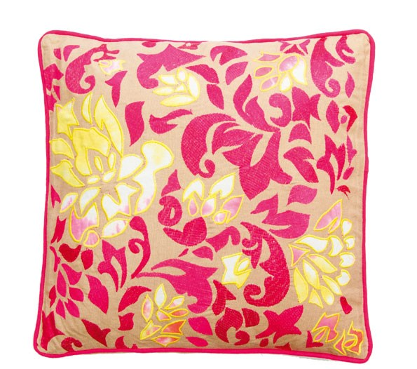 At Redcureent you'll find this cerise and yellow cushion, $56.