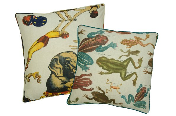 frog and circus print cushions $65 EACH from  RedCurrent