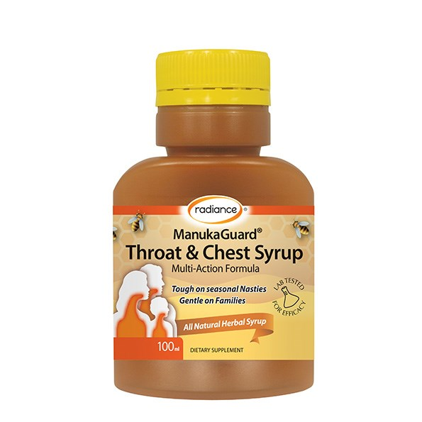 Radiance ManukaGuard® Throat & Chest Syrup100ml, $18.90, helps prevent and provide relief from colds, flu, throat infections, coughs and sore throats. Take at the first sign of sickness and for the duration of your illness.