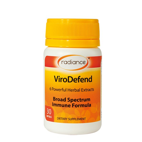 Support a low immune system with Radiance Viro Defend 30 soft gels, $37.90, which contains six natural ingredients, including olive leaf extract, oregano oil extract, garlic, and rosemary oil.