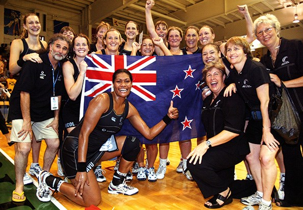 The Silver Ferns celebrate their victory at the 2003 World Netball Champs.