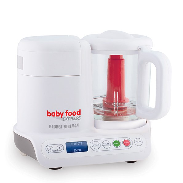 George Foreman Baby Food Express: The ideal handy appliance for mums, the Food Express steams, purees and pulses ingredients to create fresh and healthy baby food in minutes. There are 10 pre-programmed cooking settings and the four-cup glass bowl is BPA-free. The Baby Food Express is $199.99. For stockists, call 0800 736 776.