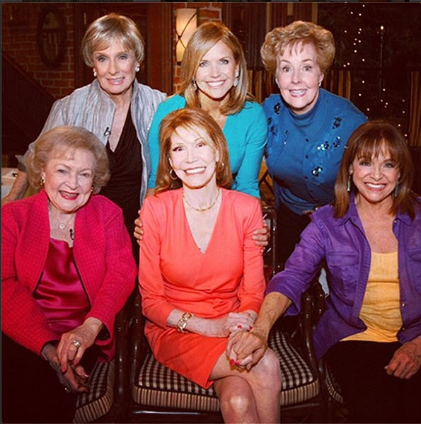 Valerie Harper (front right), who played Rhoda Morgenstern on The Mary Tyler Moore Show,  still keeps in regular contact with Mary. From back row left; Cloris Leachman, Katie Couric, Georgia Engel.  Front row left; Betty White, Mary Tyler Moore and Valerie Harper.