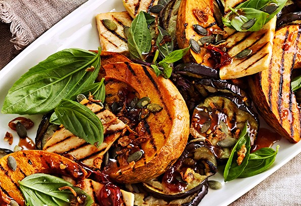 Get creative with cooking techniques and try grilling your favourite winter vegetables. Then serve with  salad leaves, seeds and a drizzle of dressing.