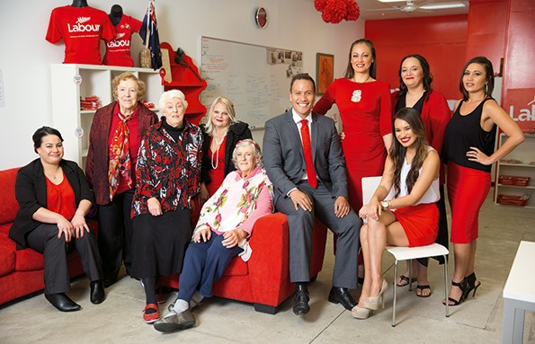 "Tamati with his ""red hot"" ladies, who he says are instrumental in helping get his campaign going."