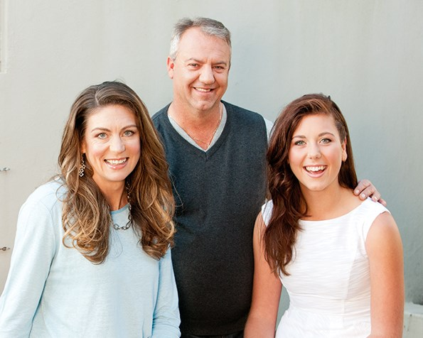 Irene at home with husband Christie and daughter Bianca.